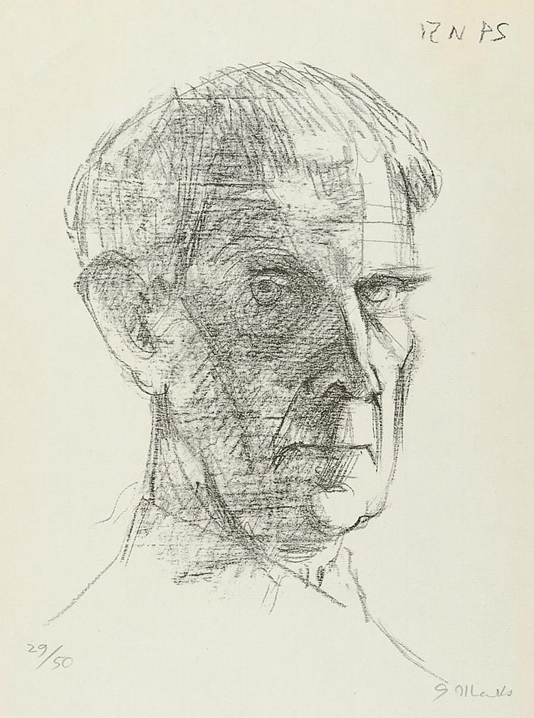 Marcks, Gerhard. Selbstbildnis (24 VI 51). Lithographie auf Bütten. Rechts