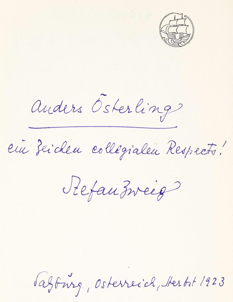 Zweig, Stefan. Drei Meister. Balzac - Dickens - Dostojewski. 9.-12. Tausend