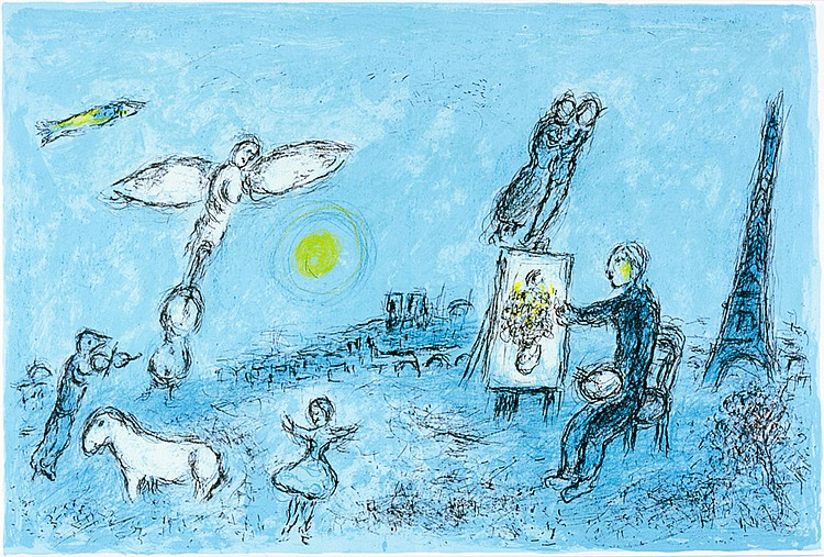 Chagall, Marc - - Derrière le Miroir. Nr. 246. Mit 1 doppelblattgroßen Orig