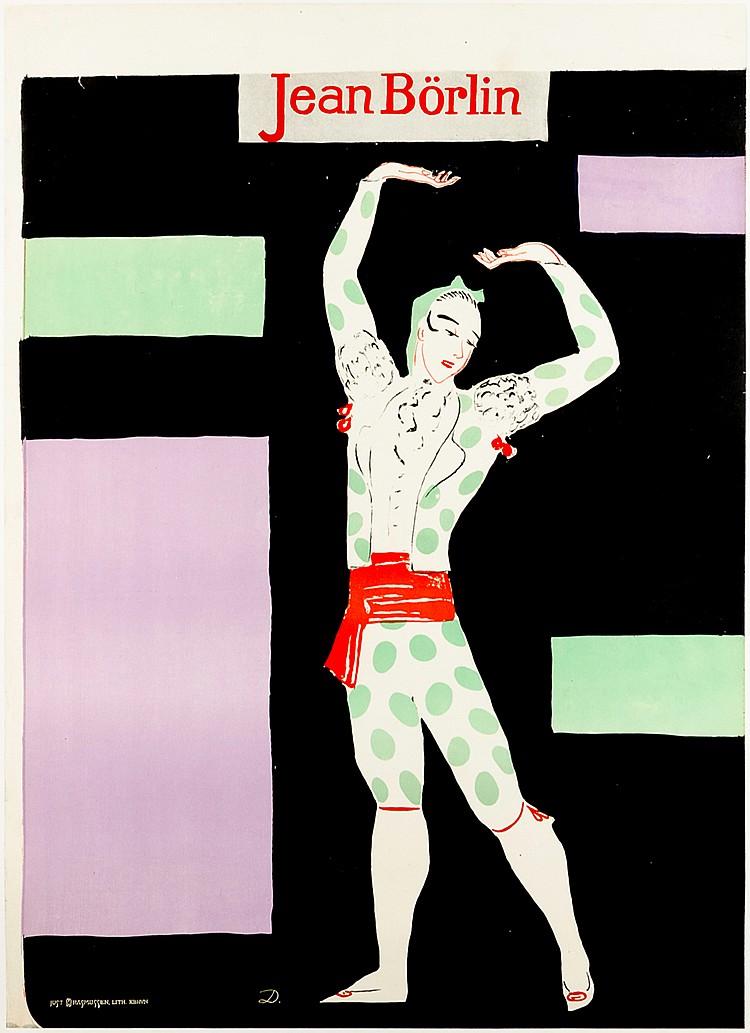 Plakate - - Dardel, Nils von. Jean Börlin. Farbig lithographiertes Plakat.