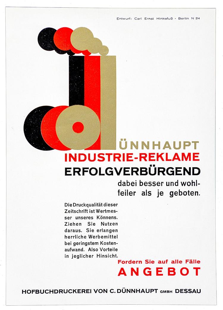 Werbung - - Hinkefuß, Carl Ernst. Dünnhaupt Industrie-Reklame - erfolgverbü
