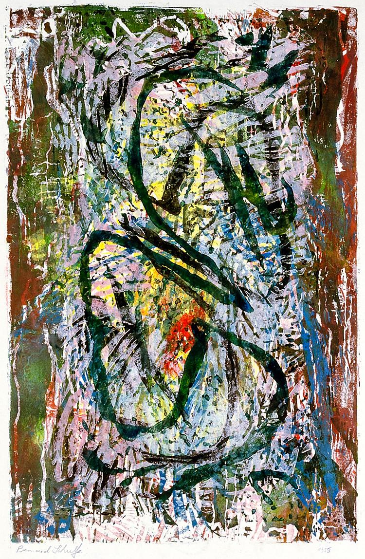 Schultze, Bernard. Ohne Titel (Komposition). Linolschnitt auf Velin. Links