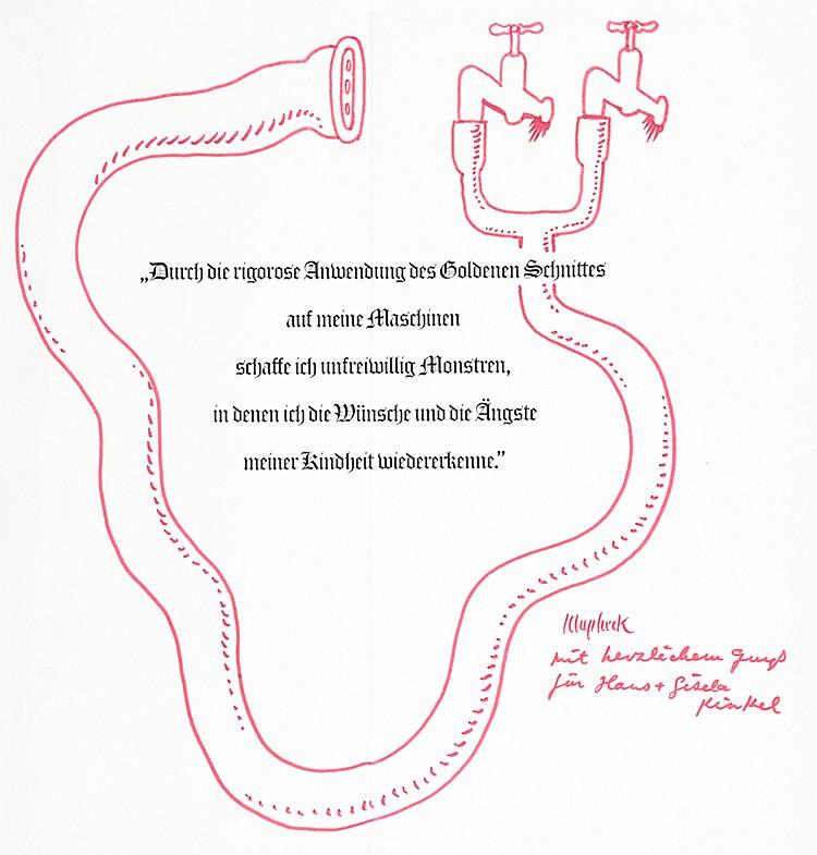 Klapheck, Konrad. Wasserschlauch mit Wasserhahn. Rote Filzstiftzeichnung. R