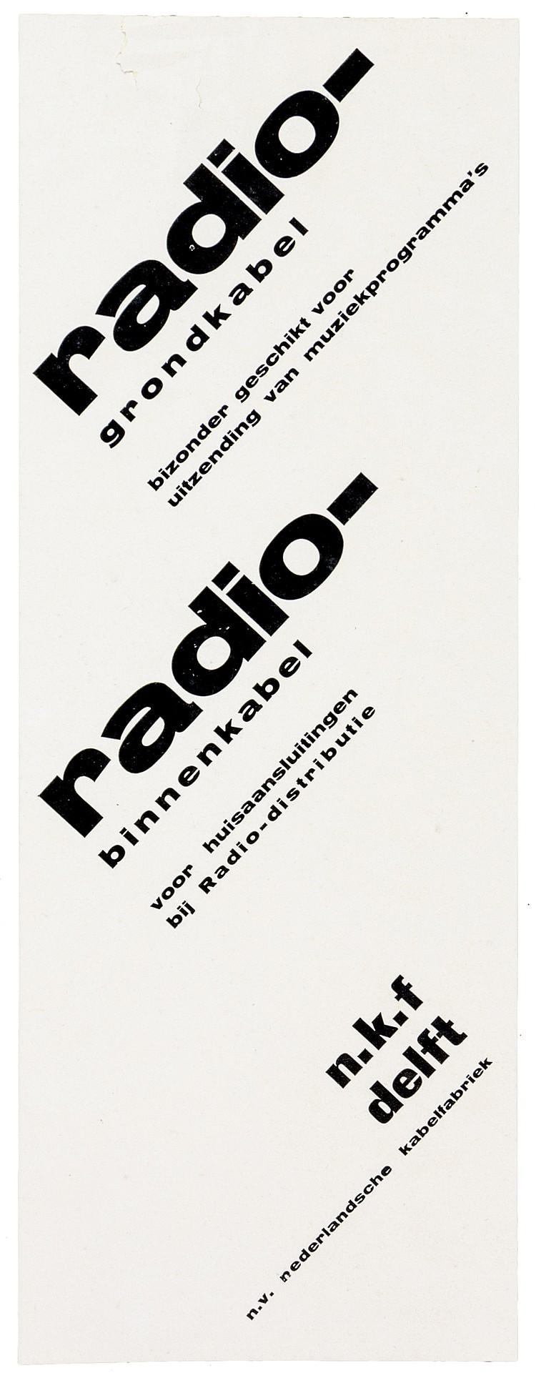 Typographie - - Zwart, Piet. Radio-grondkabel ... radio-binnenkabel. Werbes