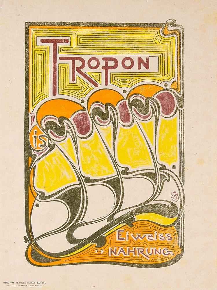Plakate - - Velde, Henri van de. Tropon. Original-Lithographie in vier Farb