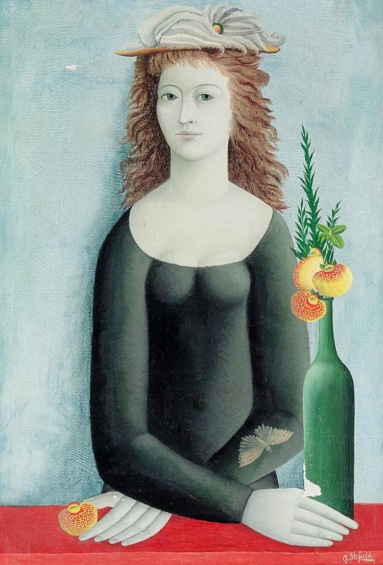 Stefula, Gyorgy. Mädchen mit Vase. Öl auf Leinwand. Rechts unten signiert s