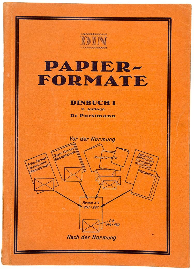 Typographie - - Porstmann, Walter. Die Dinformate und ihre Einführung in di