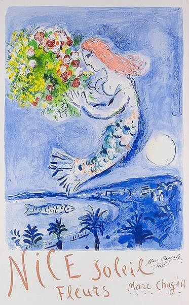 Chagall, Marc. Nice, Soleil, Fleurs (Die Engelsbucht). Farblithographie auf