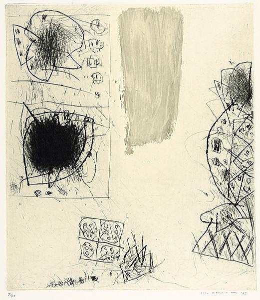 Ikeda, Masuo. Sammlung von 4 Kaltnadelradierungen auf Velin-Rives. Alle Arb