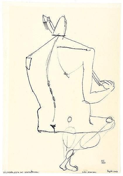 Stenvert, Curt. Violinspielerin mit breitem Rücken. Tuschzeichnung auf Papi