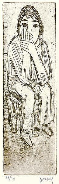 Hubbuch, Karl. Sitzendes Mädchen mit aufgestütztem Kopf. Kaltnadelradierung
