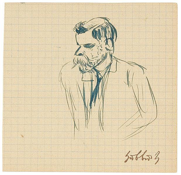 Hubbuch, Karl. Porträt eines Mannes. Tuschzeichnung auf kariertem Papier. R