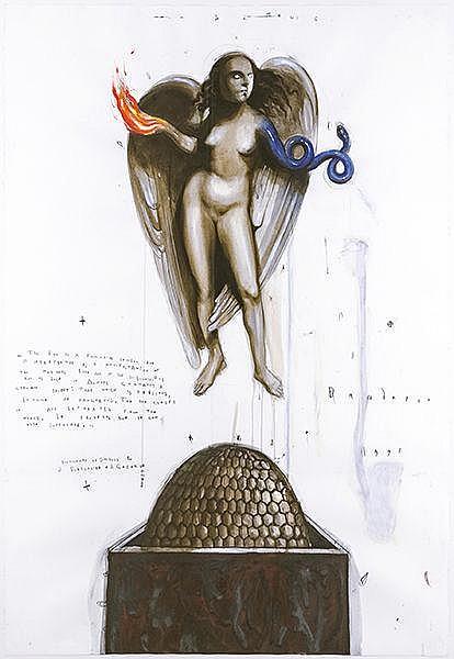 Dandarov, Robert. Artemis. Aquarell und Bleistift auf Velin. Im linken Rand