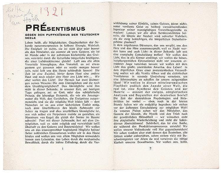 DADA - - Hausmann, Raoul. PRÈsentismus. Gegen den Puffkeismus der Teutschen