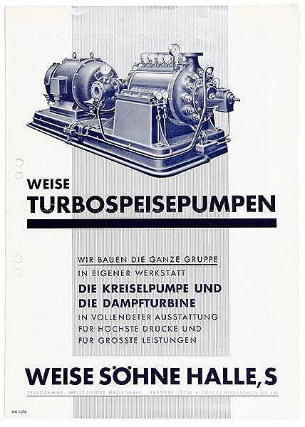 Typographie - - Schwitters, Kurt (zugeschrieben). Weise Turbospeisepumpen.
