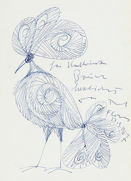 Flora, Paul. Vogel. Tintezeichnung auf Papier. Rechts mit signierter Widmun