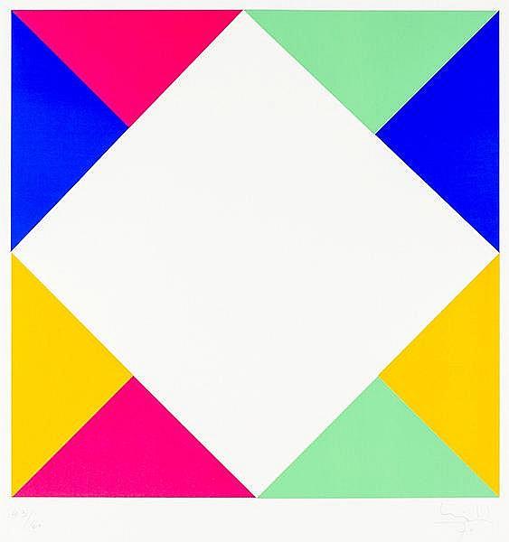 Bill, Max. Ohne Titel (geometrische Komposition). Farbserigraphie auf dünne