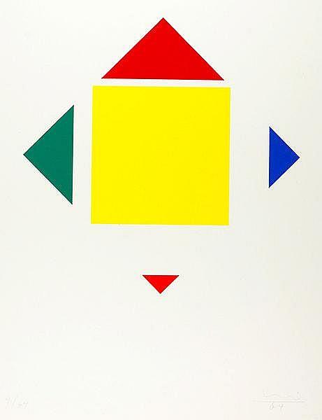 Bill, Max. Geometrische Komposition. Farbserigraphie auf dünnem Karton. Rec