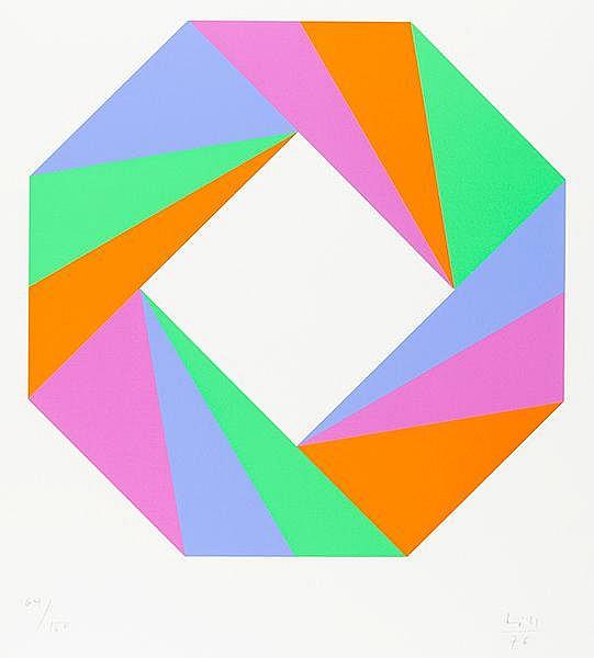 Bill, Max. Ohne Titel (Oktagon mit Keilen). Farbserigraphie auf dünnem Kart
