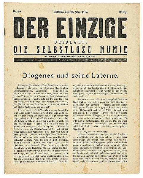 Expressionismus - - Der Einzige. Beiblatt die Selbstlose Mumie. Herausgeber