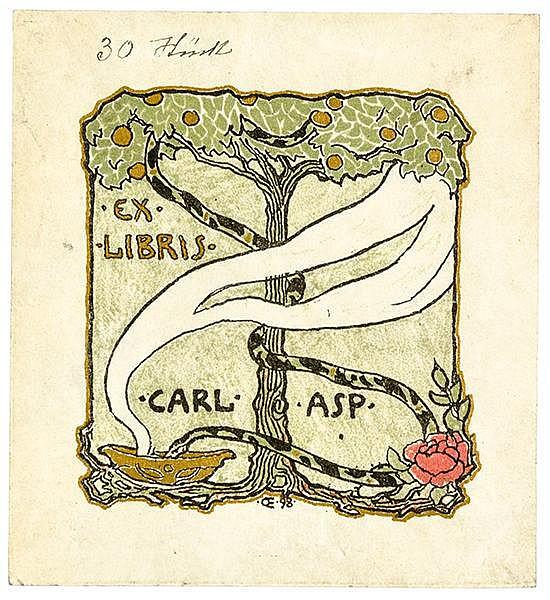 Exlibris - - Orlik, Emil. Exlibris für Dr. Carl Asp. Goldgehöhte Farblithog