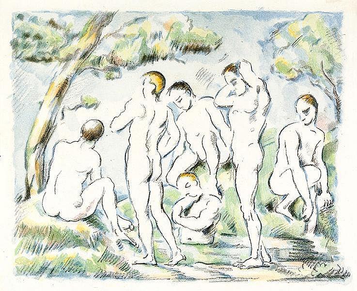 Cezanne, Paul. Les Baigneurs - Petite planche. Farblithographie auf China a
