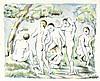 Cezanne, Paul. Les Baigneurs - Petite planche. Farblithographie auf China a, Paul Cezanne, €6,000