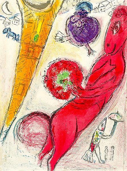 Chagall, Marc. Eiffelturm mit Esel. Farblithographie. 1954. Blattgröße 37 x