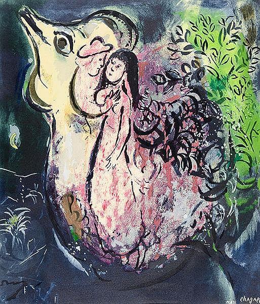 Chagall, Marc. La Poule et le Couple. Farblithographie auf Velin. Rechts un
