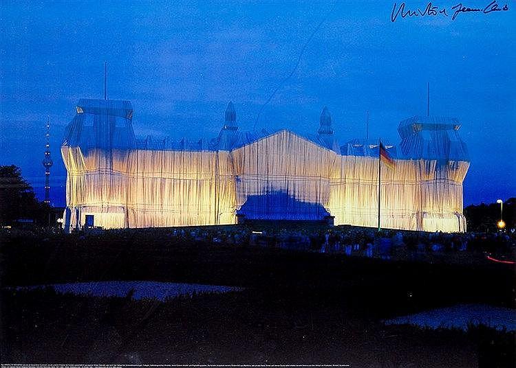 Christo. Wrapped Reichstag, Berlin, 1971-1995. 5 Farboffsetdrucke mit Geleg