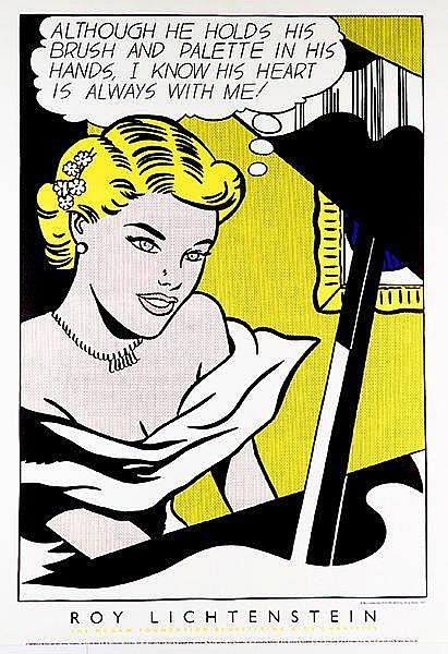 Lichtenstein, Roy. Girl at Piano. Offset auf Karton. 1997. Blattgröße: 137