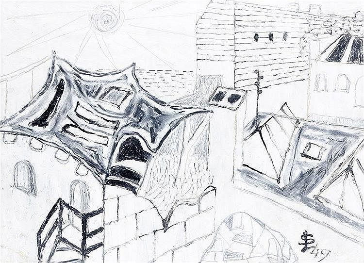 Lympasik, Siegmund. Ohne Titel. Zeichnung (Mischtechnik auf Papier). Rechts