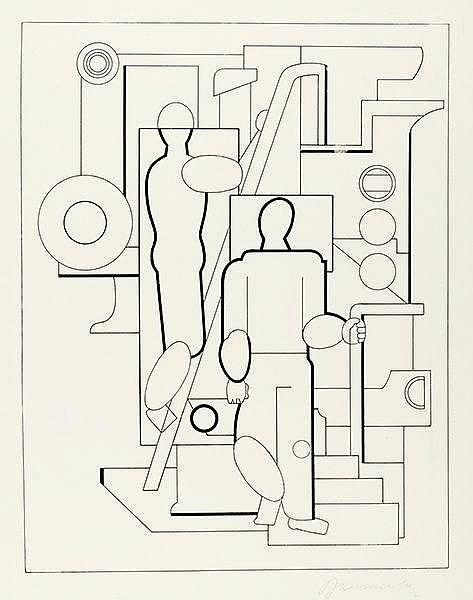 Baumeister, Willi. Monteure. Lithographie auf Werkdruckpapier. Rechts unten