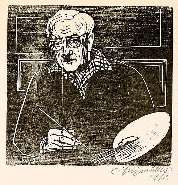 Felixmüller, Conrad - - Sammlung von 6 Katalogen bzw. Werken, alle mit eige