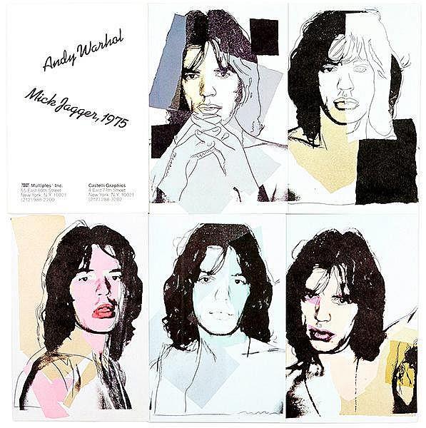Warhol, Andy. Mick Jagger. Portfolio mit 10 farbigen Postkarten. Offsetlith