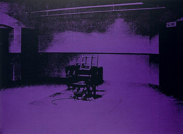 Warhol, Andy. Electric Chair. Serigraphie auf festem Karton. Verso mit Stem