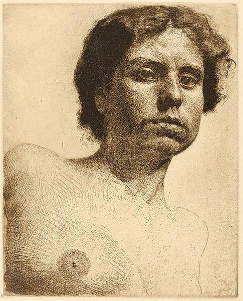 Wolfsfeld, Erich. Frauen-Porträt und Männer-Porträt. Zwei Radierungen auf V