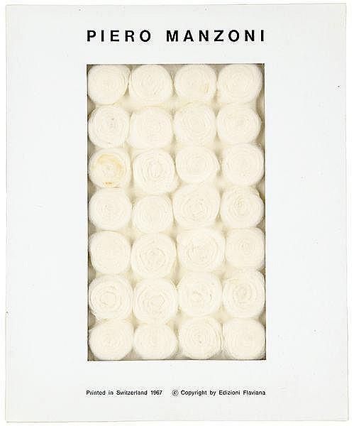 Manzoni, Piero. Batuffoli di Ovatta (61). Multiple aus mehreren zu Schnecke