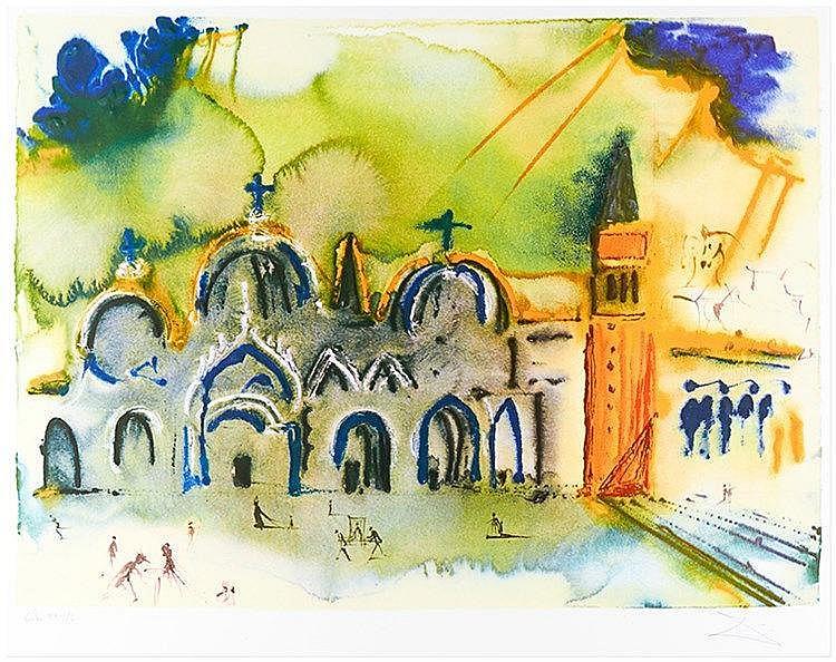 Dali, Salvador. Venise, la basilique et le campanile. Carborundum auf Velin