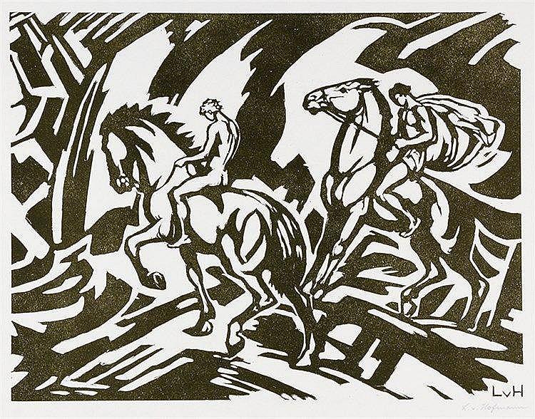 Hofmann, Ludwig von. Zwei Reiter in einer Landschaft. Holzschnitt auf Papie