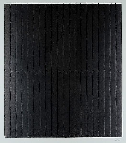 Rose, Rolf. Reliefbild in Schwarz. Monotypie auf grauem Papier. Rechts unte