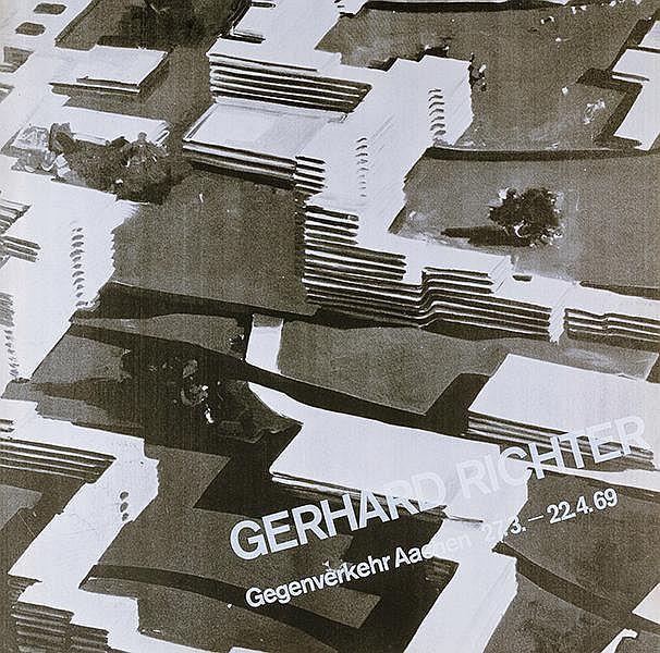 Richter, Gerhard. Plakat Aachen. Siebdruck in Weiß über Offsetdruck in Schw