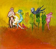 Hilsing, Werner. Ohne Titel (surrealistische Komposition). Öl auf Hartfaser
