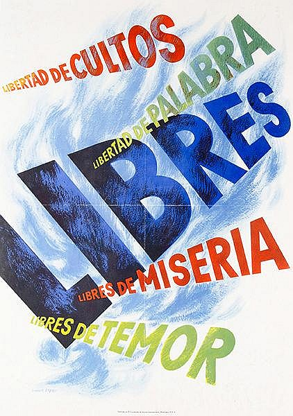Plakate - - Bayer, Herbert. Libertad de cultos. Libertad de palabra. Libres