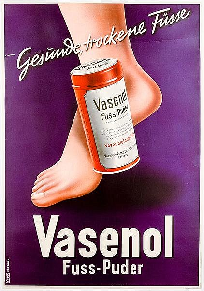 Plakate - - Bayer, Herbert. Gesunde, trockene Füsse. Vasenol Fuss-Puder. Fa