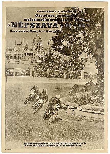 Plakate - - A Nepsava. Plakat für ein Motorradrennen. Budapest, um 1950. Of