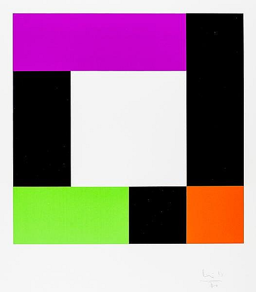 Bill, Max. Ohne Titel (geometrische Kompositon). Farbserigraphie auf dünnem