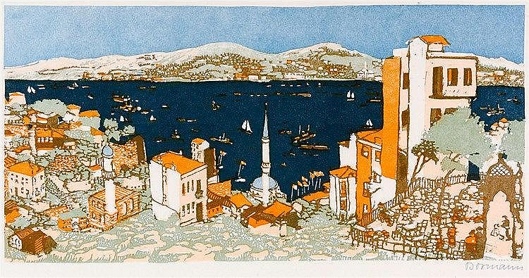 Bormann, Emma. Am Bosporus. Farbholzschnitt auf dünnem Papier. Rechts unten