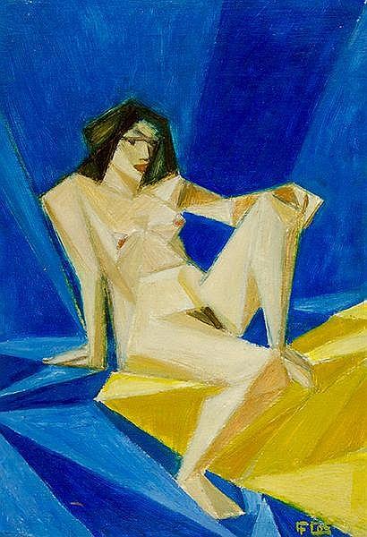 Unbekannt. Kubistischer weiblicher Akt. Öl auf Pappe. Rechts unten unleserl