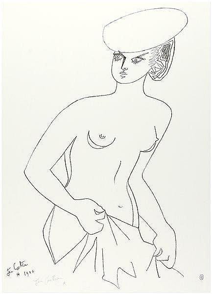 Cocteau, Jean. Actrice. Lithographie auf Velin. Links unten signiert sowie
